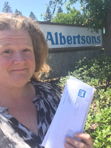 Delivering a letter to Albertsons